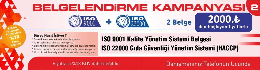 9001 VE 22000 kalite ve gıda belgelendirme kampanyası
