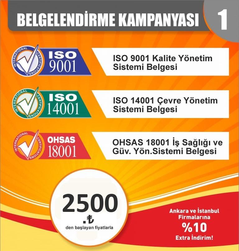 9001-14001-18001 kalite çevre ve iş sağlığı belgelendirme kampanyası